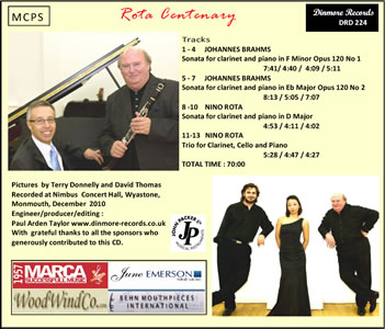 Back cover of cd of music by Brahms and Rota