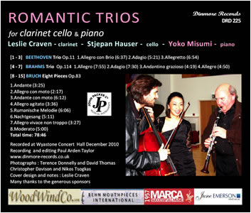 Back cover of cd of Romantic Trios
